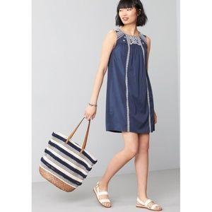 Caslon Boho Blue Embroidered Shift Dress Size XS